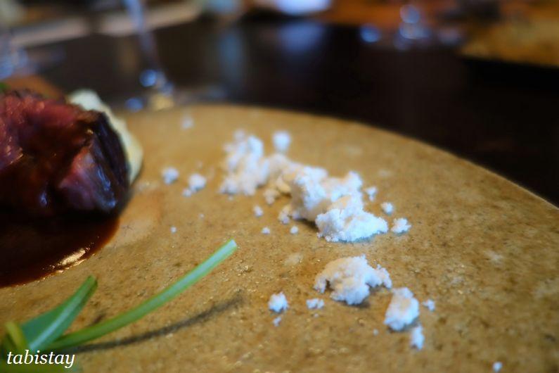 イタリア料理 祇園 マメトラ 近江牛の炭火焼き オリーブオイルの結晶